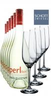 Weinpaket 6 x 0.75L Louis Guntrum Perlfein + 4 Champagnergläser