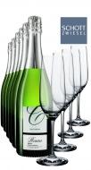 6 x 0.75L Cava Roura Brut Nature + 4 Champagnergläser