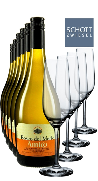 6 x0.75L Vino Bianco Frizzante + 4 Champagnergläser