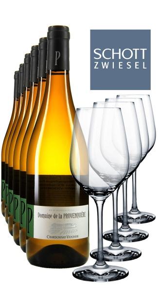 6 x 0.75L Chardonnay Viognier + 4 Weißweingläser