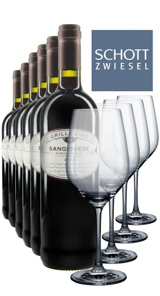 6 x 0.75L Grillesino Sangiovese 2012 + 4 Rotweingläser