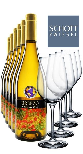 6 x 0.75L Urbezo Chardonnay + 4 Weißweingläser