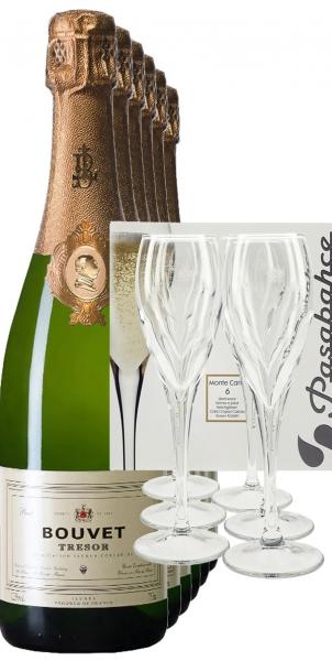 Bouvet Ladubay Trésor 6 Fl. + 6 Champagnergläser