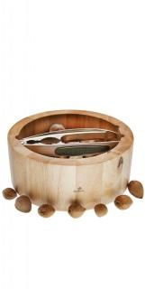 Nussschale aus Holz mit Nussknacker