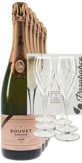 Bouvet Ladubay Trésor Rosé 6 Fl. + 6 Champagnergläser
